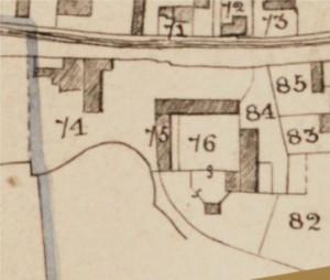 1845 map with enlarged house