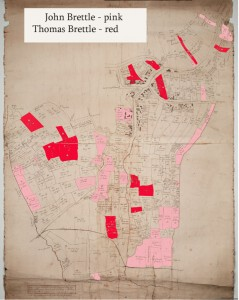 Map of lands rented in thurgarton parish by john and thomas brettle