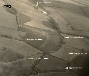 Roman Road and villas aerial photo 1950s