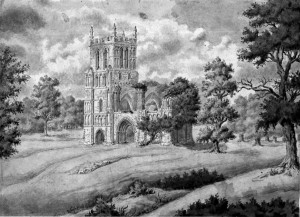 Thurgarton Church as a Romantic ruin Powell 1819